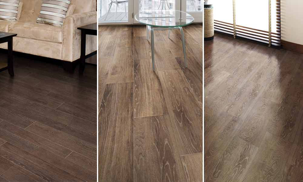 wood look porcelain tiles in three color palettes