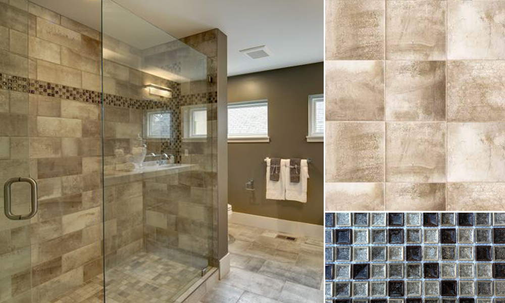 master bath with contemporary tiles