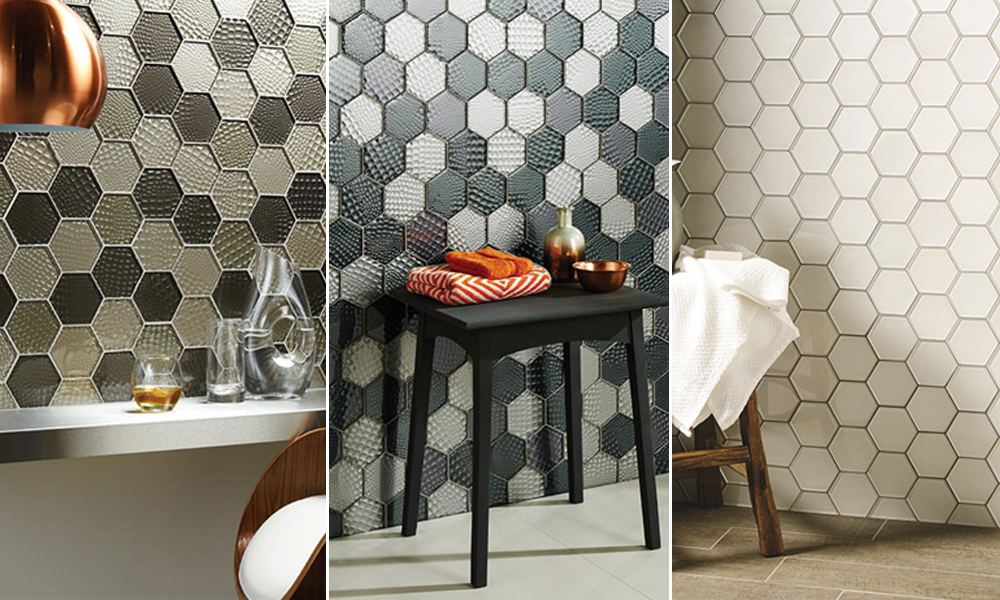 hexagonal new glass tiles
