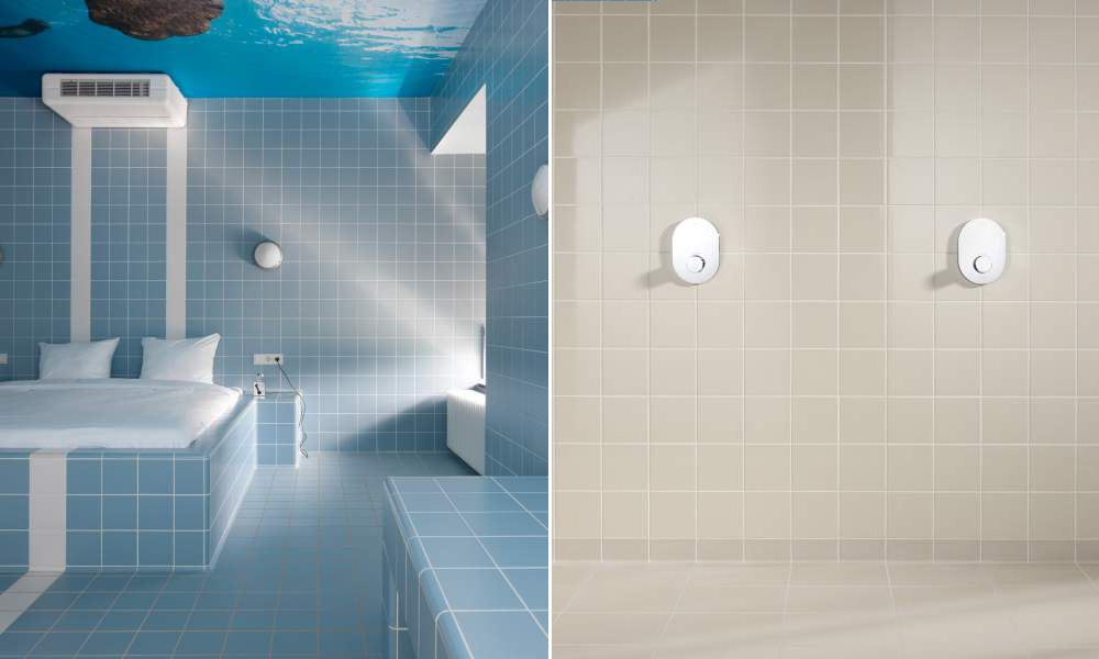 Mosa U2013 Global U2013 Sea Blue Bedroom And Light Beige Bathroom