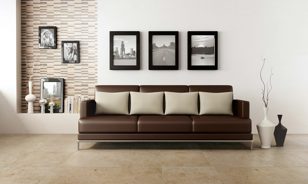 Decorative And Large Format Eternal Limestone Porcelain Tiles Modern Living Room