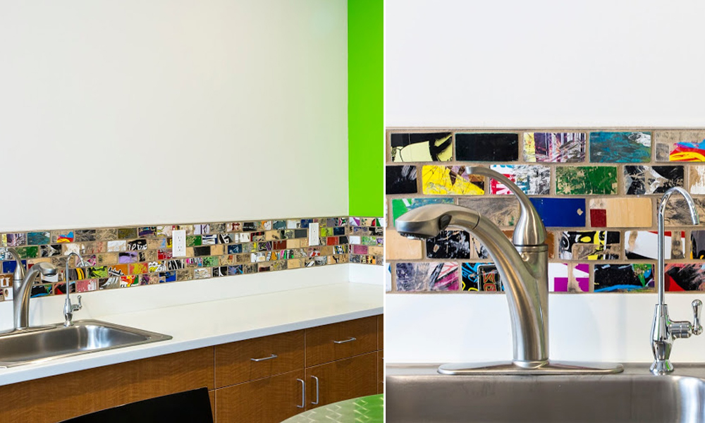 Skateboard tile backsplash in contemporary office building