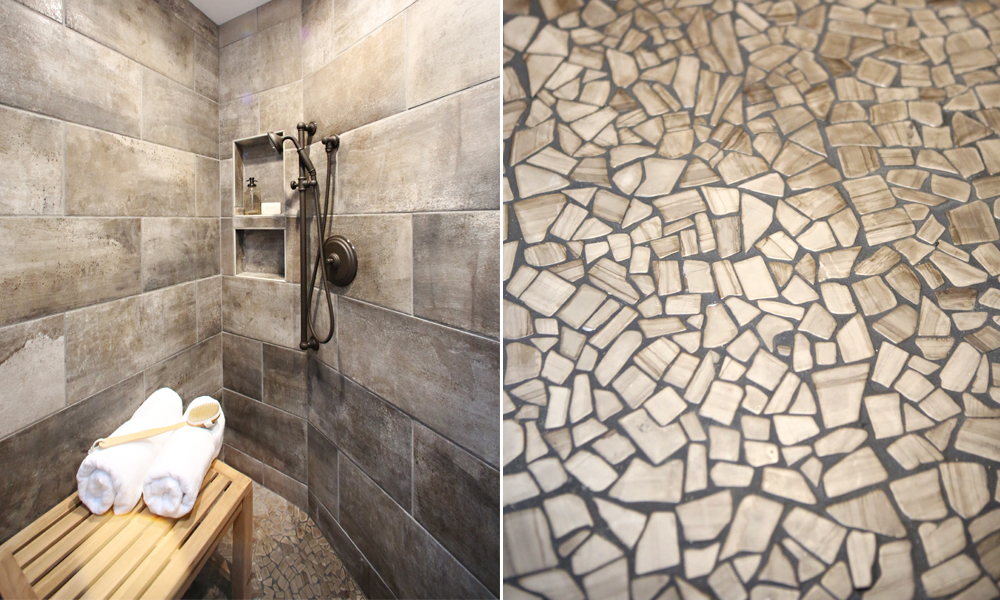 Pebble tile floor shower