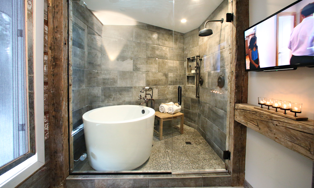 rustic tiles for bathroom. Stone Tiles And Marble Northwoods Inspired Bathroom  Whirlwind Rustic Bathroom Makeover Rubble Tile