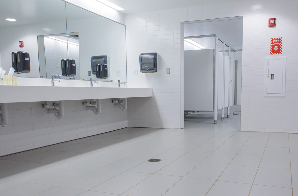 Public Bathroom With Contemporary White Commercial Wall Tiles