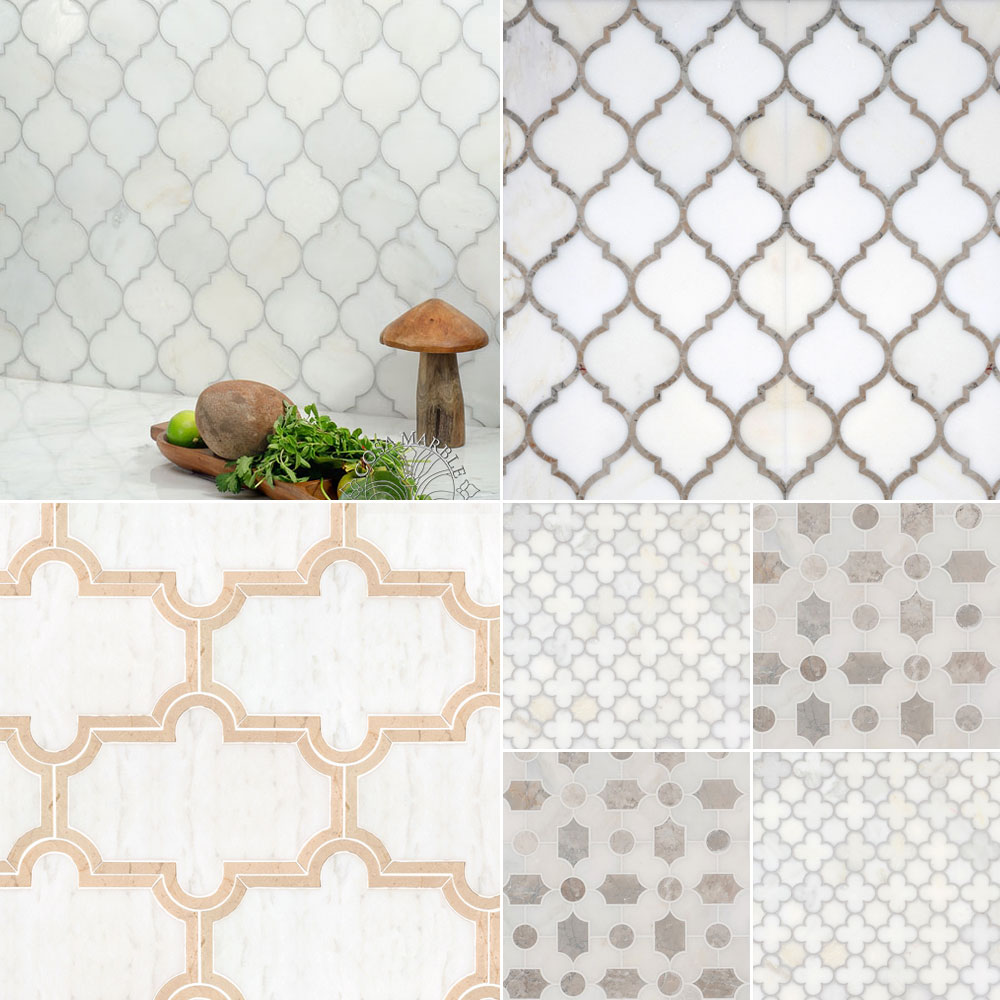 Cosa Marble Asian Statuary White marble mosaic tiles Rubble