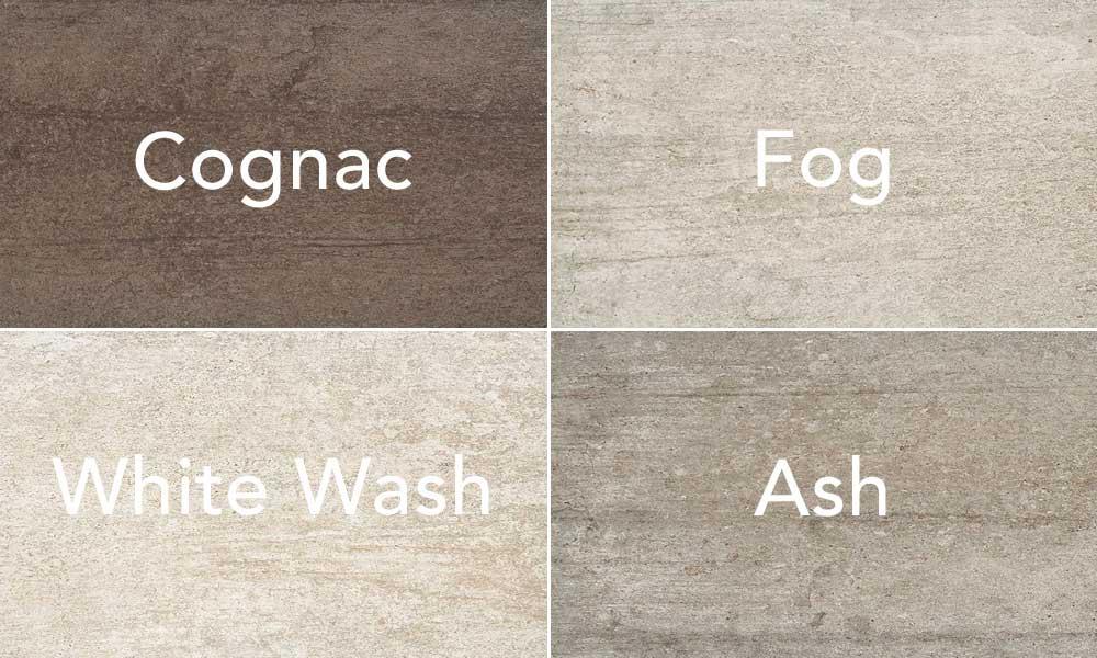 four warm gray tones of cement look tiles