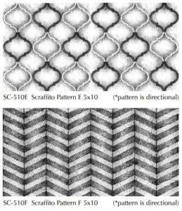 Hand drawing of Scraffito patterns Pratt and Larson