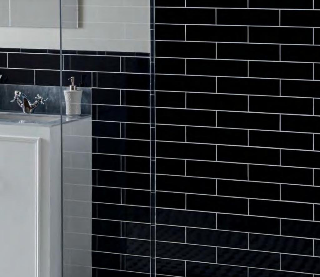black bathroom subway tile