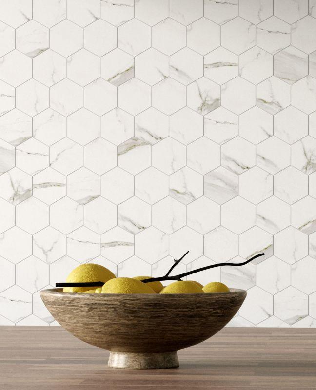 porcelain hex stone-look tile